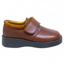 Zapato niño con velcro color cuero