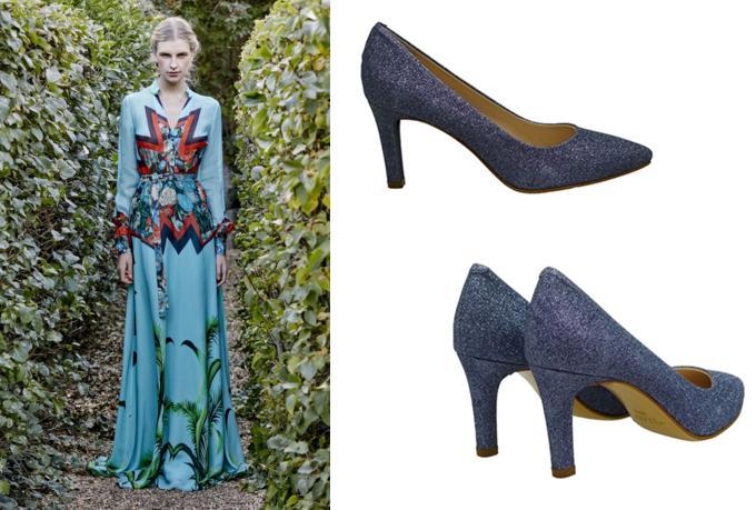 7549b23d5d Zapatos con purpurina azul para looks de fiesta y noche